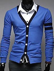 Men's Slim V Neck Stitching Casual Sweater