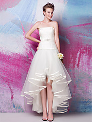 Fit & Flare Wedding Dress - Ivory Asymmetrical Strapless Satin/Tulle