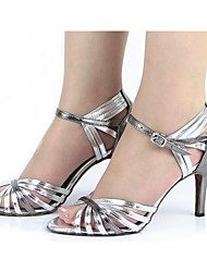 Non Customizable Women's Dance Shoes Latin Leatherette Stiletto Heel Silver
