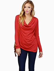 Milu Women's Sexy Ruffle Fashion Slim Long Sleeve Shirt