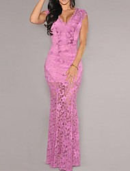 Women's Lace Pink/Black Dress , Sexy/Bodycon/Lace/Maxi Deep V Sleeveless