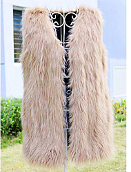 Shibeini Women's fashion V Neck Solid Color Loose Fit Sleeveless Fur Coat