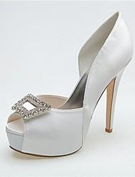 Feminino Wedding Shoes Saltos/Peep Toe/Plataforma Saltos Casamento/Festas & Noite Preto/Azul/Rosa/Roxo/Marfim/Branco/Prateado