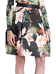 Women's Plants Flower Print Skirt
