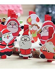 Christmas Santa Claus Series Of Wood Clip Set Of 7