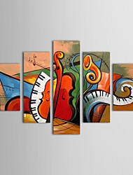 IARTS®Hand Painted Oil Painting Abstract Musical Instrument with Stretched Frame Set of 5