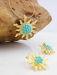 Plaqué or 18 carats turquoise / bijoux de perles de soleil ensemble