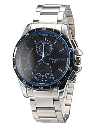 Men's Casual Style Silver Steel Band Quartz Wrist Watch (Assorted Colors) Cool Watch Unique Watch