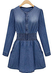 Elegant Women's All Match Denim Long Sleeve Dress