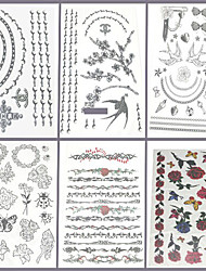 6 stuks sieraden en bloem gemengd tijdelijke tattoo
