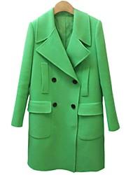 Incern®Women's Casual Green Woolen Long Overcoat