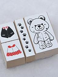 ours en peluche chat empreinte timbre en bois 4 pièces / set
