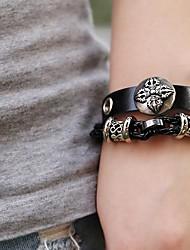 lureme®vintage последовательности символов сплав из натуральной кожи бусы вязание браслет