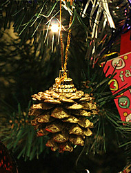 Set Of 9 Christmas Ornament Pinecones Gold ,Resin