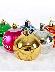 6CM  Painted Christmas Balls Color Random(Set of  6)