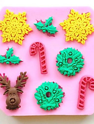 Christmas Deer Snowflake Crutch Fondant Cake Chocolate Silicone Mold Cake Decoration Tools,L9.7*W9.7*H1cm
