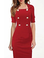 Women's Double-Breasted Bodycom ½ Length Sleeve Dress