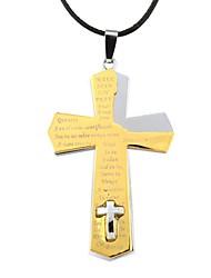 alliage de zinc de la mode collier double croix des hommes (1pc)