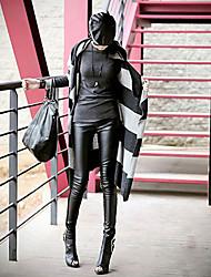 myzx женские все Macth сплайсинга кожаные штаны