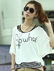 Women's Casual/Daily Simple Spring / Summer / Fall T-shirt,Print U Neck Short Sleeve Pink / White / Black / Green / Yellow Opaque