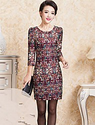 Women's Formal Plus Size Dress,Geometric Above Knee Long Sleeve Multi-color Polyester Spring / Fall / Winter