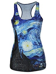 Oil Painting Tank Top Dress Night Club Sexy Uniform