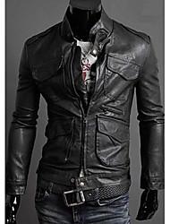 Хаку мужской пу длинный рукав пальто