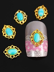 10pcs Blue Oval Stone With Golden Arch Line Alloy Nail Art Decoration