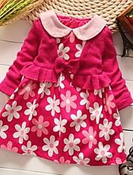 Girl's Fashion Sweet Joker Little Flower Lapel Long Sleeve Dress