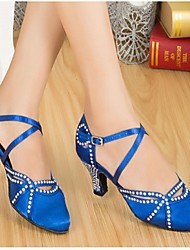 Customizable Women's Dance Shoes Modern Satin Customized Heel Black/Blue