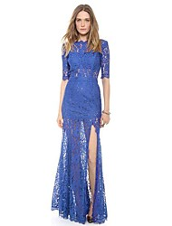 Women's Lace V Neck Sexy Party Long Dress