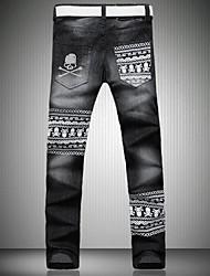 мужская мода досуга черепа разработка печатных длинные джинсы