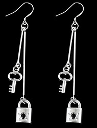 Lock+Key Slivered Tassel Earrings (1Pair)