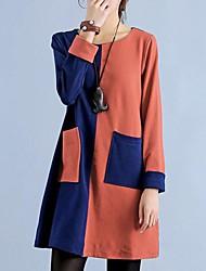 Women's Green/Orange Dress , Casual/Cute Long Sleeve