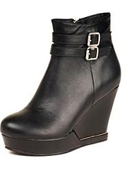Zapatos de mujer - Tacón Cuña - Tacones / Plataforma / Punta Cerrada - Botas - Vestido - Cuero Sintético - Negro / Marrón