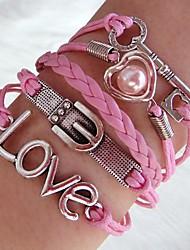 westlicher Mode 20cm Rosa Frauen-Silber-Legierung Wickelarmband (1pc)