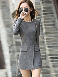 tweed cor sólida das mulheres durante todo o jogo mais tamanhos casaco longo