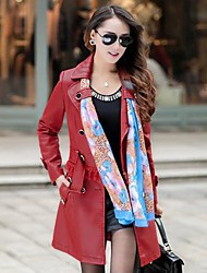 Women's Turndown Collar Fashion Removable Long PU Coat Plus Sizes with Scarves Random (More Colors)