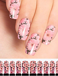 12шт розовые хризантемы шаблон водяного знака Nail Art Наклейки c3-006