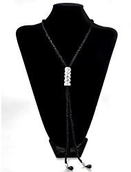 Lureme®Korean Style Black Rice Beads  Adjustable Drill Necklace