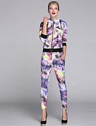 coloré décontracté costume de sport à capuche imprimé des femmes (manteau&pantalon)