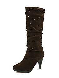 sapatos femininos rodada toe stiletto calcanhar joelho botas altas mais cores disponíveis