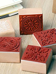4cm x 4cm Vintage Square Romantic Floral Flower Pattern Wooden Stamp(Random Pattern