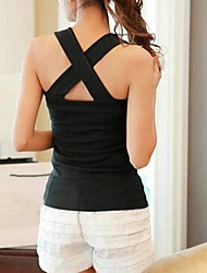 Women's Cotton Sexy Backing Hollow Cross BottomingVest