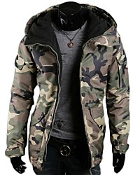 Men's Casual Fashion Thickened Camouflage Hooded Cotton Loose Coat