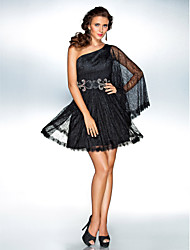 A-Line Princess One Shoulder Short / Mini Lace Cocktail Party Homecoming Holiday Dress with Beading by TS Couture®