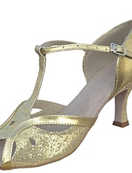 Customizable Women's Dance Shoes Latin Paillette Customized Heel Black/Silver/Gold