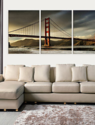 Stretched Canvas Print Art Architecture Golden Gate Bridge Set of 3