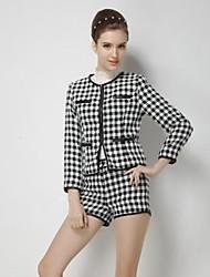 laine tartan neuf points de la douille des femmes costume pantalon (blouse&pantalon)