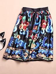 jacquard faldas de cintura alta de las mujeres